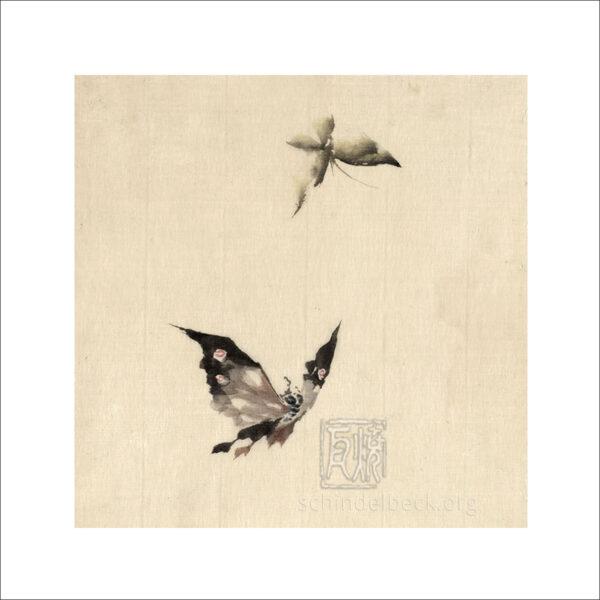 Hokusai - Schmetterling und Motte - Reproduktion auf Schindelbeck Art