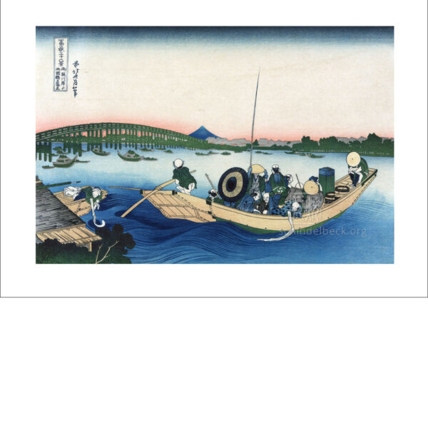 Hokusai - Sonnenuntergang am Fluss Sumida - Reproduktion Schindelbeck Art