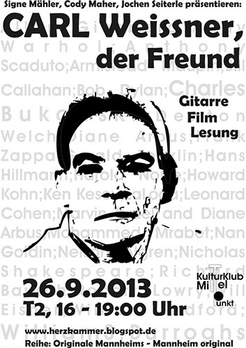 Carl Weissner Veranstaltung Mannheim